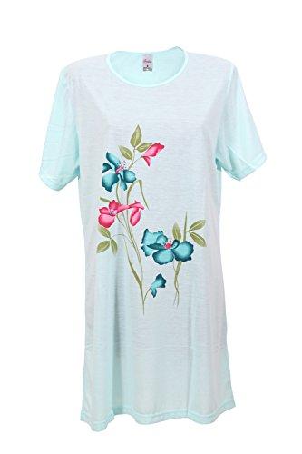 Damen Nachthemd Schlafanzug Pyjama Sleepshirt Nachtwäsche Baumwolle (L 40 - 42, türkis) (Damen-sleepshirts Baumwolle Aus)