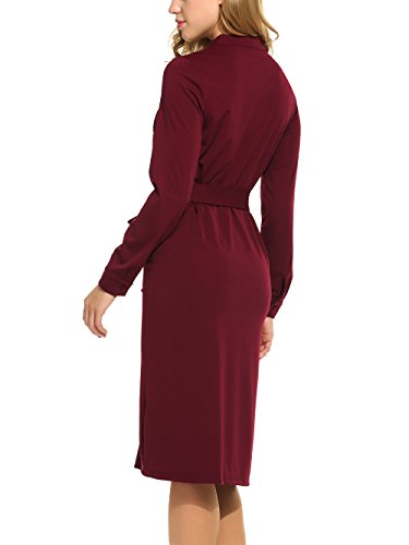 ... ACEVOG Damen Elegant Kleid Blusenkleid mit Gürtel Stehkragen Langarm  knielang casual Wickelkleid Freizeitkleid Tunika Kleid Weinrot ...