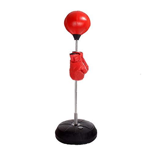 HemeraPhit Verstellbarer Punchingball mit Ständer, MMA-Training, Stressabbau, Speedbag mit Handschuhen, Rot für Kinder