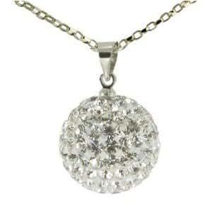 Pink© -Unisexeles femmes, Pendentif de collier pavé en cristal avec boule disco shamballa de 16mm de largeur avec chaîne de 18 pouces -Blanc]