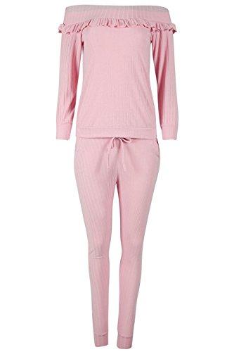 Be Jealous Frauen aus der Schulter Langarm Tracksuit Damen Bardot Rüsche Rüschen Legging Jog-Anzug Loungewear Set Rose