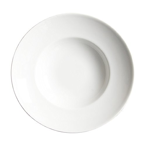 Saturnia Porcelaine Fine 4001238 - Lot de 6 Assiettes Creuses, Porcelaine, Lavable au Lave-Vaisselle, Ø 23 cm, Couleur : Blanc