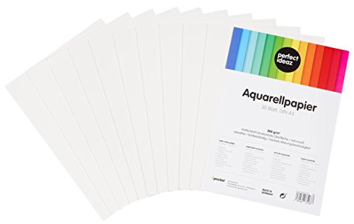 perfect ideaz 30 Blatt DIN A5 Aquarell-Papier 300g, Mal- & Zeichen-Block in weiß, Wasser-Farben Karton strukturiert & matt, watercolor paper für Skizzen, Aquarelle, Lavis, Gouache, Tempera & Acryl (Karton-wasser)
