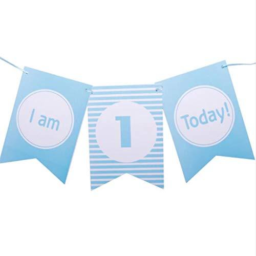 Weryffe Ich Bin 1 Heute Banner Papier Schöner Geburtstag Bunting Einjähriges Baby Jungen Mädchen Der Erste Geburtstag Foto Requisiten (Wimpel 2) (Baby Bunting Mädchen)