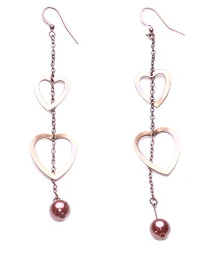 Damen Kupfer/Bronze rustikal Finish Faszinierend Drop Herz Muster Perlen Ohrringe (zx62) (Rustikale Kupfer-finish)
