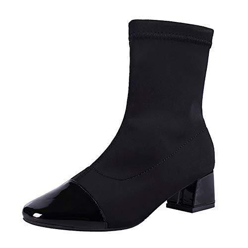 URSING Damen Stiefeletten Frauen Wedges Slip-On Schuhe Martain -