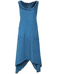 d867551b98f Grizas Women s Linen Sleeveless Flared Dress Teal