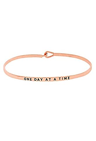 """Rosemarie Collections femmes de crochet Fin Bracelet jonc """"One Day at a Time (or rose)"""