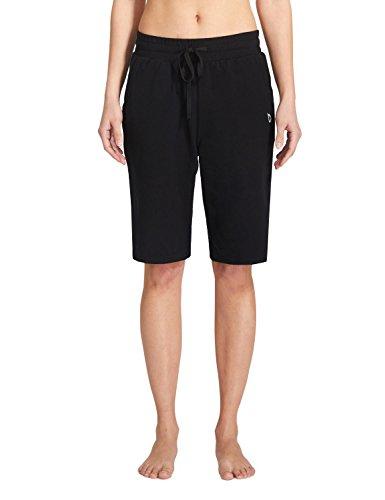 Baleaf Damen Aktiv Yoga Lounge Bermuda Shorts Sweatshorts mit Taschen Schwarz Größe M (Von Tragen Das Bermuda-shorts)