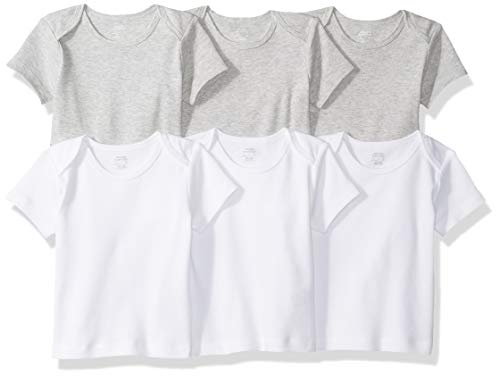 Amazon Essentials 6-Pack Lap-Shoulder Tee infant-and-toddler-t-shirt-sets, Solid White & Heather Grey, Preemie - Preemie Kleidung