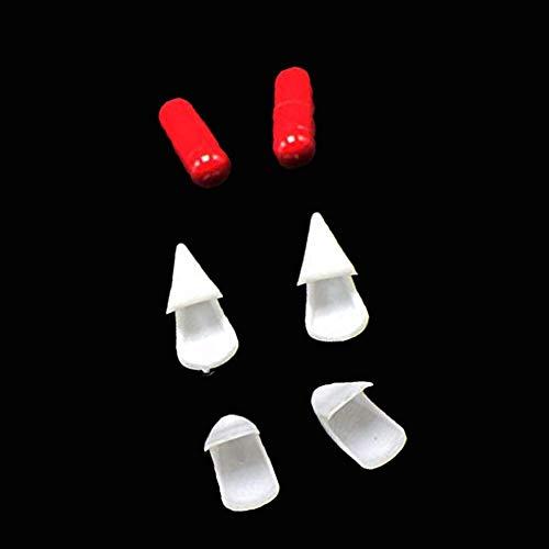 White & Red One Set von ungiftigem Zombie Fang & Blood Pill Halloween-Vampir-Zähnen Requisiten - Einfach Teufel Kostüm Makeup