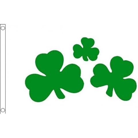 152,4 cm x 91,44 cm (150 x 90 cm) San Patricio de Irlanda del trébol irlandés blanco 100% Material de poliéster bandera de la bandera Ideal para Pub Club escuela negocios
