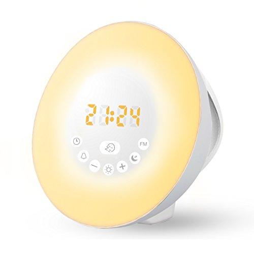 Wake-Up Light, Amteker Sonnenaufgang Simulation Wecker mit FM Radio Natürliche Klänge, 7-Farbige Stimmungslampe, 10 Helligkeiten Nachttischlampe - Touch Control