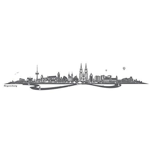 Preisvergleich Produktbild WANDKINGS Wandtattoo - Skyline Regensburg (mit Fluss) - 80 x 15 cm - Dunkelgrau - Wähle aus 6 Größen & 35 Farben