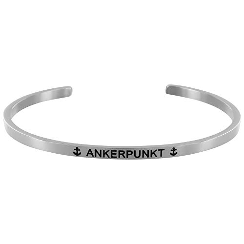 ANKERPUNKT Armreif Armband Damen silber Edelstahl verstellbar mit Gravur ANKERPUNKT Made in Germany