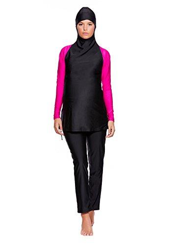 2 tlg. Muslimischer Vollkörper Schwangerschafts-Badeanzug Burkini / Hamile / Islamische Umstands-Badebekleidung Tesettür mit Hijab f5445 Burkini Schwarz/Pink BU3(sw-pi)