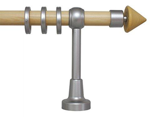 Gardinenstange mit 28 mm Ø aus Holz und Kunststoff in den Farben Natur und Alu matt, 200 cm