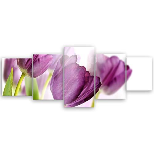 ge Bildet® hochwertiges Leinwandbild XXL - Tulpe - 200 x 80 cm mehrteilig (5 teilig) 1900III