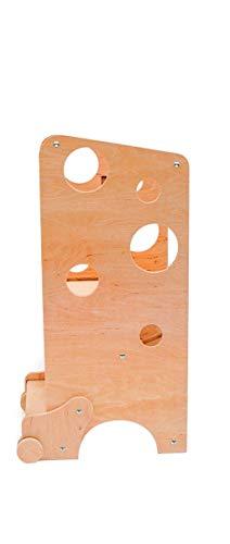 Torre di apprendimento/lavagna/seggiolone di Leea Toys con lavagna e scivolo (natural wood)