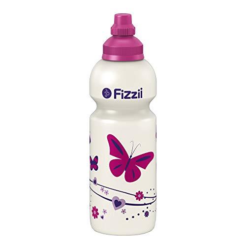 Fizzii Kinder- und Freizeittrinkflasche 600 ml (auslaufsicher bei Kohlensäure, schadstofffrei, spülmaschinenfest, Motiv: Schmetterling)