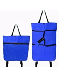 Everyday Desire Portable Foldable Trolley Bag Shopping Bag Blue (Pack Of 1)