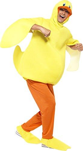 Smiffy's 43390 - Ente Kostüm mit Body-Hose angebaute Kopfstück und Füße - Adult Ente Kostüm