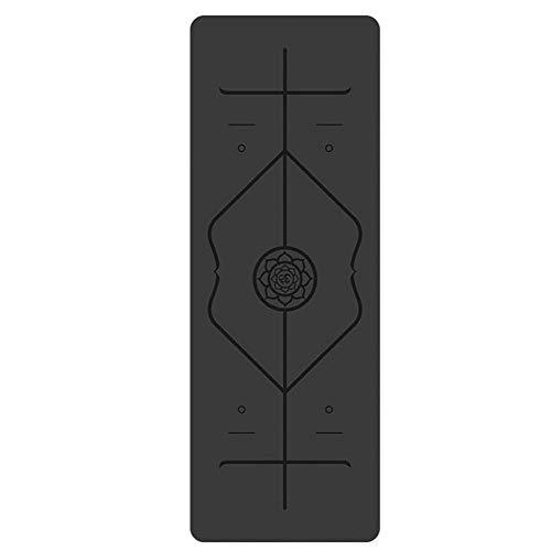 XUMI Yoga-Matte, PU-Yoga-Matten 5mm Naturkautschuk-Yoga-Matten-Customized Body Line Naturkautschuk-Yoga-Matte Übung Anti-Rutsch-Fitnessmatte 183cm * 66cm (Color : Black, Size : 5mm)