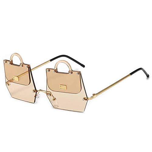 FIRM-CASE Metall Unregelmäßige Sonnenbrille Männer Frauen Handtasche Frameless Sonnenbrillen Art und Weise neu Brille, 3