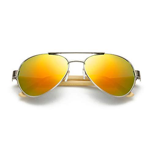 Eye-nak Bambus Sonnenbrille Fliegerbrille Brille in vielen Farbkombinationen Klassische Pilotenbrille Verspiegelt Unisex Sonnenbrille Damen Herren Pornobrille Sonne Sommer (C2)