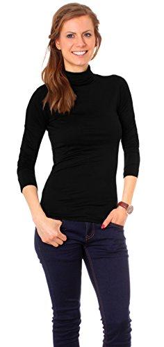 Easy Young Fashion Basic Damen Langarm Shirt Rollkragen One Size Schwarz