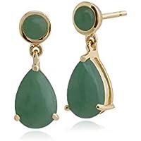 b7e798685 Gemondo Green Jade Earrings, 9ct Yellow Gold 3.33ct Green Jade Drop Earrings