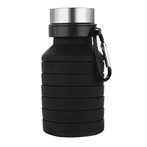 Sunday Silikonflasche Faltflasche Faltbare Tragbare Sportflasche Flexible Reiseflasche Trinkflasche BPA-Frei für Camping Trekking Klettern und Reisen (Schwarz)