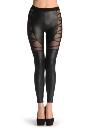 LissKiss Faux Leather With Front Mesh Hips Panels - Schwarz Leggings Einheitsgroesse (34-40) -