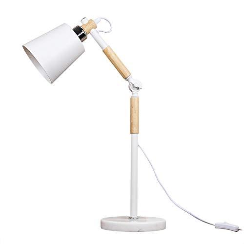 diolumia-Lámpara de escritorio-pequeño maceta blanco Design madera Metal pantalla cónico-Altura ajustable