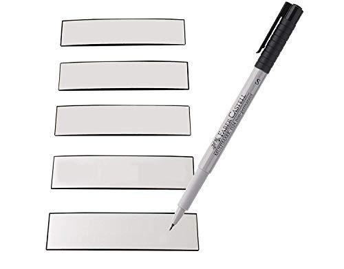 Magnetstreifen Etiketten weiß 83x19 mm - 50 Stück - beschreibbar incl. Stift - Schriften Kühlschrank-magnete