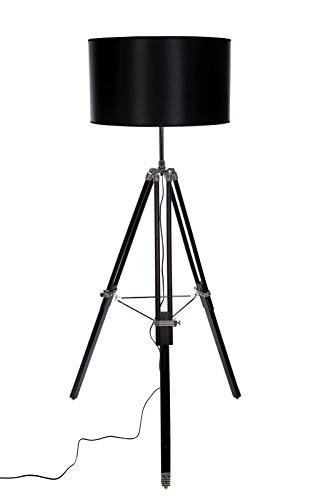 Riesige XXL Stativlampe Stehlampe im Dreibein Stativ Look Style, F 702 schwarz, Extra großer Schirm (52cm) Blickfang Dekorationslampe, Verstellbare Höhe,Leuchte Stehleuchte,Lampe 160cm hoch