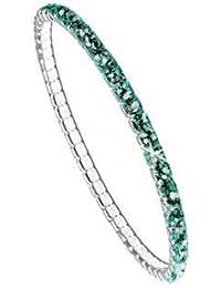 Stretch Armband, versilbert, nickelfrei, L 17,80cm, 1 Stk., PP24; Emerald (205)