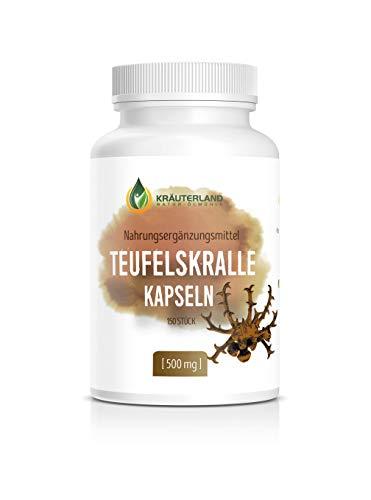 Kräuterland Teufelskralle Kapseln, 150 Kapseln hochdosiert je 500mg Teufelskralle Pulver, 100{c6df14395704fa1a4f078685922933005768213e60a3956f250465d398bd6bee} Rein und ohne Zusatzstoffe, Made in Germany