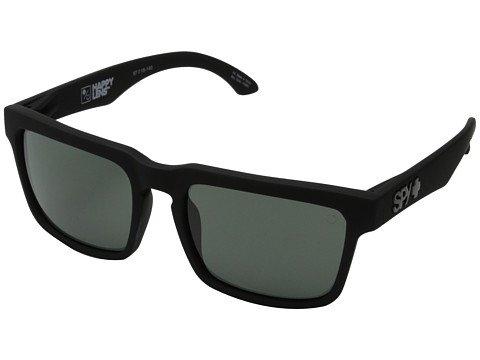 Spy Sonnenbrille Optic Helm matt schwarz mit grauen grünen Gläsern + Aufkleber