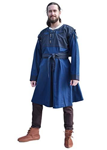 Battle-Merchant Mittelalter Tunika Bent mit abnehmbaren Ärmeln - Mittelalterkleidung - Wikinger - LARP - Hemd - Kostüm - Baumwolle - Braun - Blau - Schwarz (XXL, (Armee Schwarzer Ritter Kostüm)