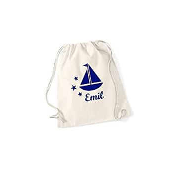 Segelboot personalisierter Rucksack mit Namen, unterschiedliche Farben und Motive