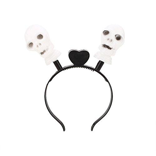 Gladle Halloween LED leuchten Haarband Kopfband Kürbis-blinkende Partei, Schädel ohne (Leuchten Halloween Schädel)
