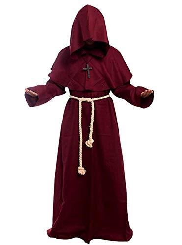 Golden service Priester Robe Mönch Mittelalterliche Kapuze Kapuzenmönch Renaissance Robe - Renaissance Mönch Kostüm