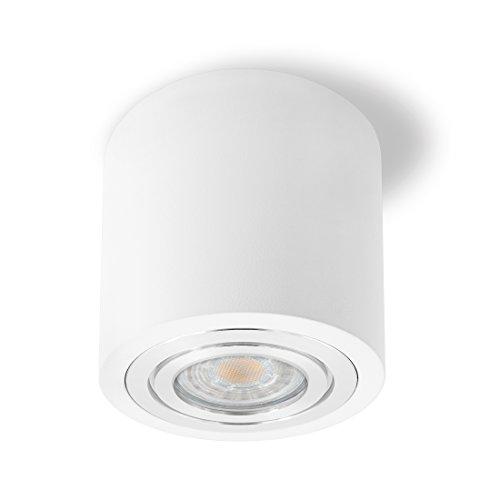 SSC-LUXon® LED Deckenspot Aufbau in weiß & rund - IP44 Wasserschutz für Bad - inkl. LED GU10 Leuchtmittel 5W 230V warmweiß