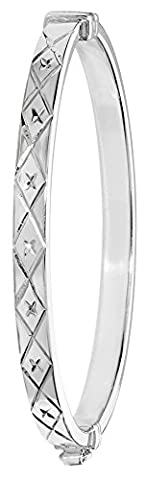 Sterling Silver Diamond Cut Hinged Baby Bangle - Christening Gift - British Made - Hallmarked