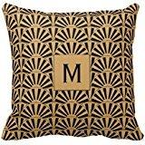Monogram Oro e Nero Art Deco Fan fiori Throw Pillow Case
