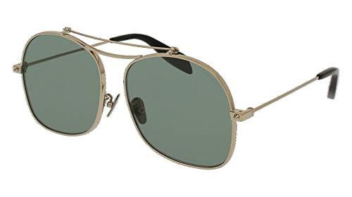 Alexander mcqueen am0088s 003 59 occhiali da sole, oro (003-gold/green), unisex-adulto