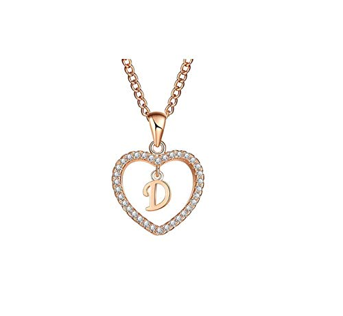 frgtrhb A bis Z 26 Buchstaben-Halsketten & Anhänger für Frauen Mädchen, modisch, Lange Kette, Herz-Halsketten, Zirkonia, DIY Schmuck, Geschenk, G, ()