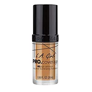L.A GIRL PRO Coverage HD Foundation, Nude Beige, 28ml