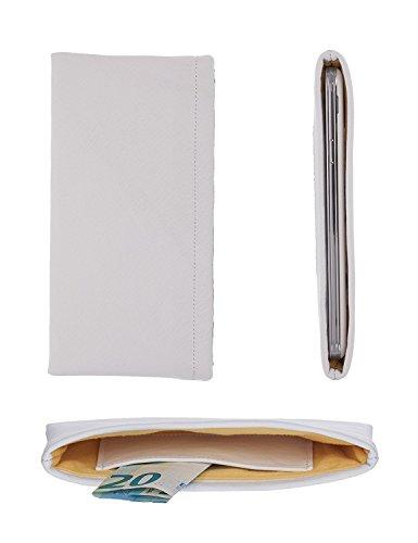 luvbag DesignX weiß Handytasche Hülle Tasche aus Leder mit Microfaserinnenfutter und Innentasche z.B. für Geldscheine für Samsung SGH-E860v Handyhülle